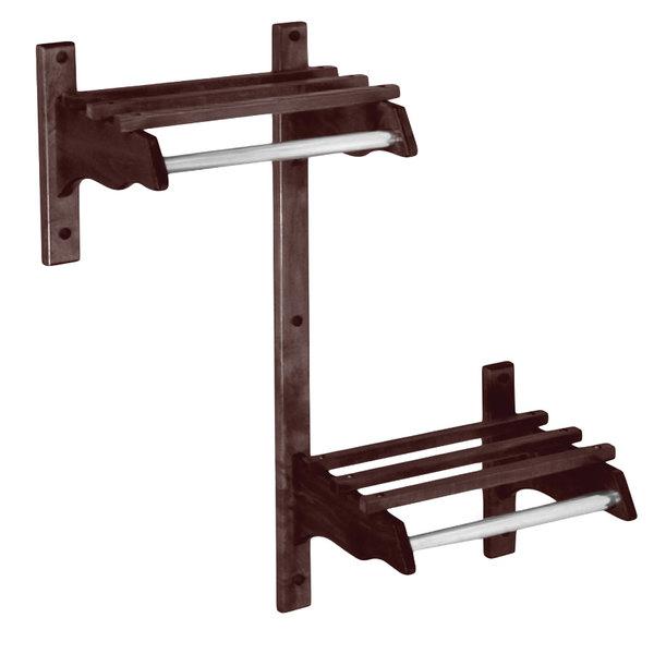"CSL TJFADAMB-60D 60"" Dark Oak Hardwood Wall Mount ADA Compliant Coat Rack with Hardwood Top Bars and 5/8"" Metal Hanging Rod Main Image 1"