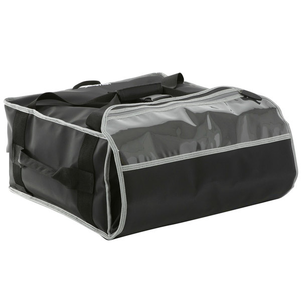 """Vollrath VPB516 5-Series 17 1/2"""" x 17 1/2"""" x 9"""" Black Insulated Nylon Pizza Delivery Bag with Heating Pad"""