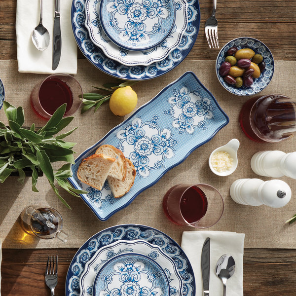 American Metalcraft Blup14 Isabella 14 X 5 5 8 Rectangular Blue White Floral Melamine Serving Platter With Scalloped Rim