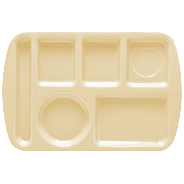 """GET TL-151 Tan Melamine 9 1/2"""" x 14 3/4"""" Left Hand 6 Compartment Tray - 12/Pack"""