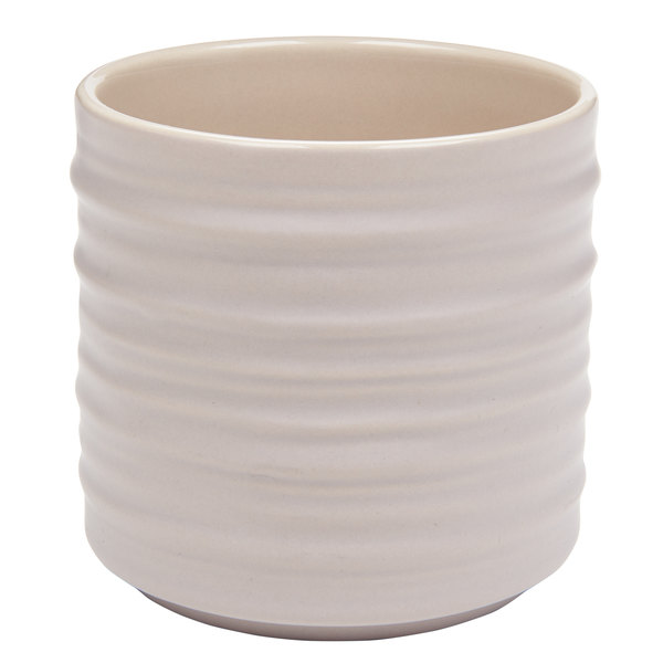 American Metalcraft PCT10 10 oz. Round Taupe Porcelain Fry Cup with Ribbed Sides