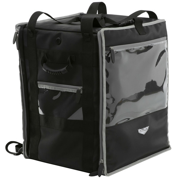 """Vollrath VTB500 5-Series 18"""" x 17"""" x 22"""" Black Insulated Nylon Tower Bag with Backpack Straps, Headrest Strap, and Heating Pad"""