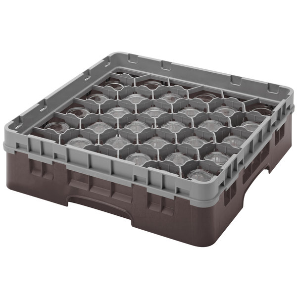 """Cambro 30S800167 Brown Camrack Customizable 30 Compartment 8 1/2"""" Glass Rack Main Image 1"""