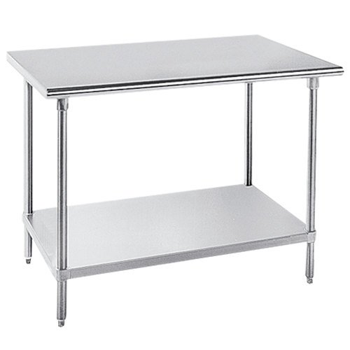 """Advance Tabco GLG-363 36"""" x 36"""" 14 Gauge Stainless Steel Work Table with Galvanized Undershelf"""
