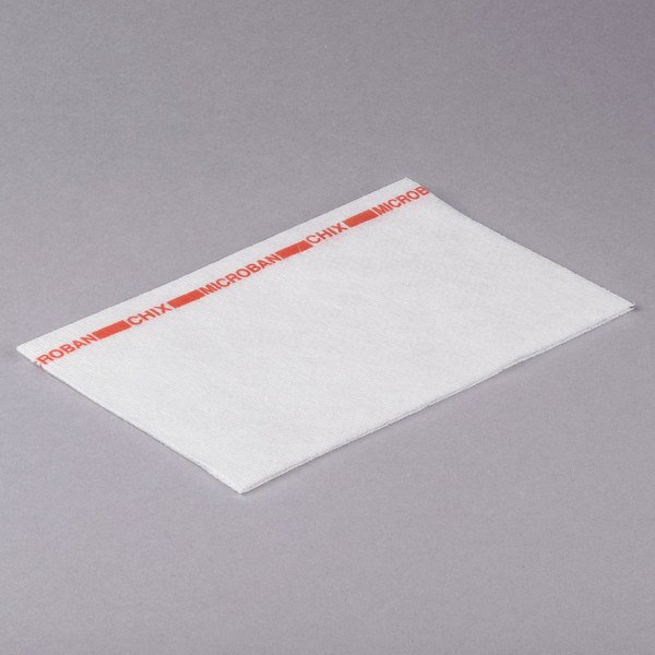 Chicopee 8252 Chix 13 inch x 21 inch White / Red Medium-Duty Microban Foodservice Wiper - 150/Case