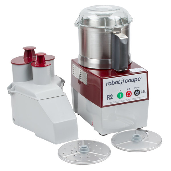 Robot Coupe R2U Combination Food Processor with 3 Qt. Stainless Steel Bowl, Continuous Feed & 2 Discs - 1 hp Main Image 1