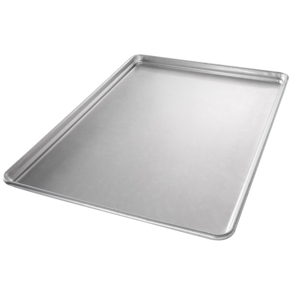 "Chicago Metallic 40808 StayFlat Full Size 18 Gauge Glazed Aluminum Customizable Sheet Pan - Wire in Rim, 18"" x 26"""