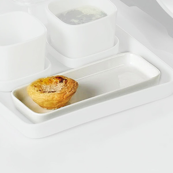 "CAC F-RT8 Fortune 7 3/4"" x 3 1/2"" White Porcelain Rectangular Tasting Tray - 24/Case Main Image 1"