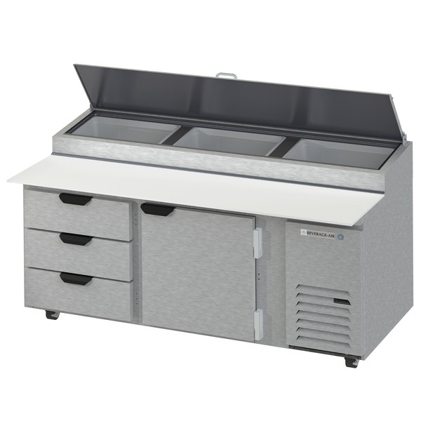 """Beverage-Air DPD72HC-3 Hydrocarbon Series 72"""" 3 Drawer Pizza Prep Table Main Image 1"""
