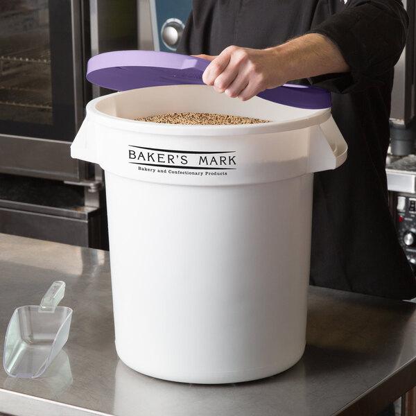 Baker's Mark Allergen-Safe 10 Gallon / 160 Cup White Round Ingredient Storage Bin with Purple Lid Main Image 2