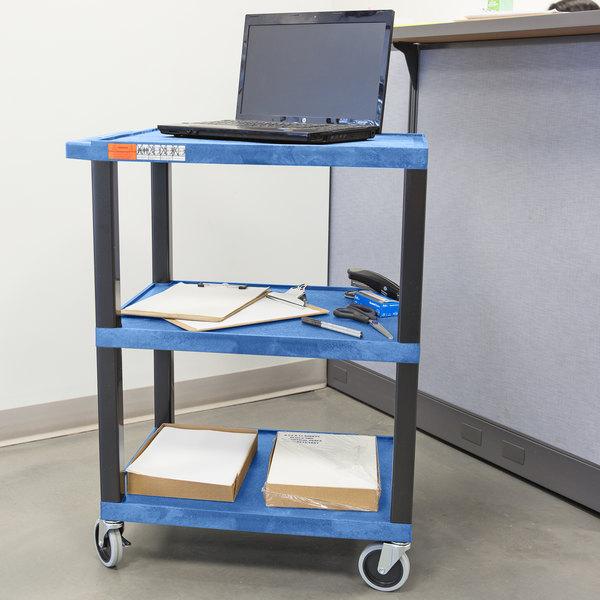 "Luxor WT34BUS Tuffy Blue Three Shelf Utility Cart - 24"" x 18"" x 34"""