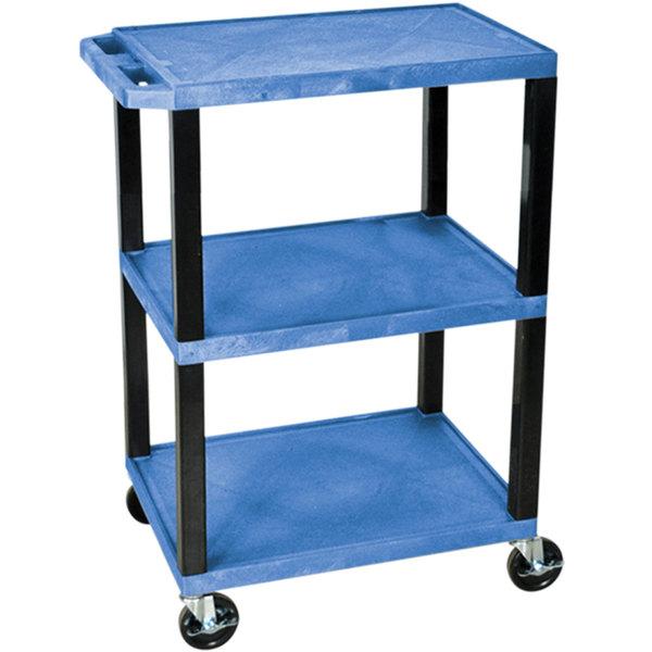 """Luxor WT34BUS Blue 34"""" Three Shelf AV Utility Cart"""