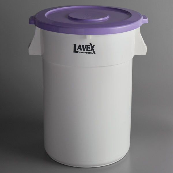 Lavex Janitorial Allergen Safe 44 Gallon White Round Ingredient Bin