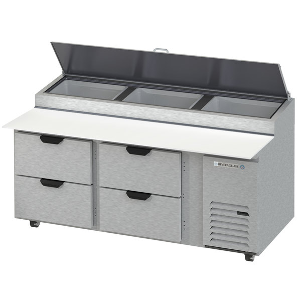 """Beverage-Air DPD72HC-4 Hydrocarbon Series 72"""" 4 Drawer Pizza Prep Table"""