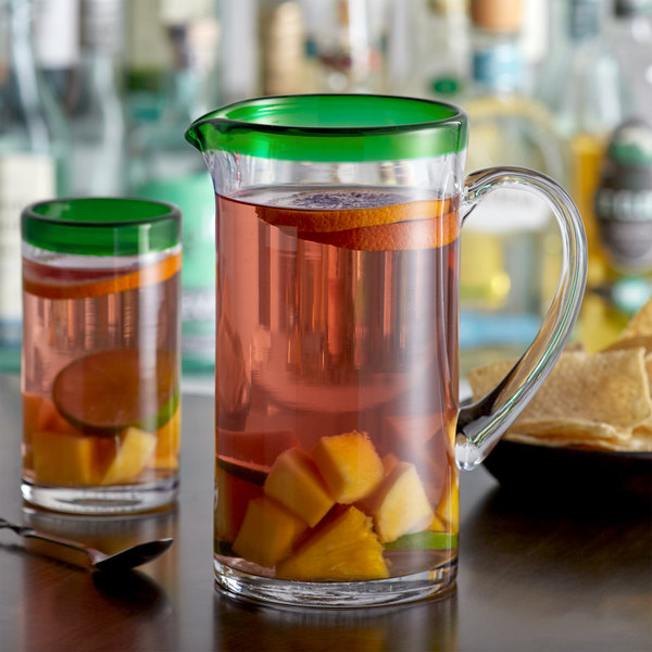 Acopa Tropic 50 oz. Glass Pitcher with Green Rim - 6/Case