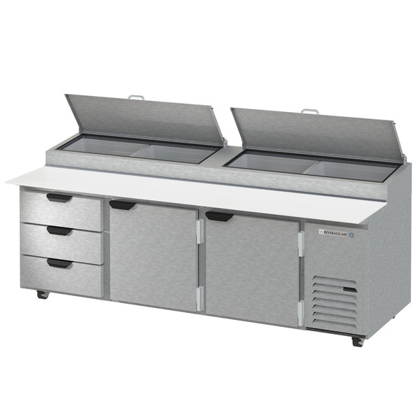 """Beverage-Air DPD93HC-3 Hydrocarbon Series 93"""" 3 Drawer Pizza Prep Table Main Image 1"""