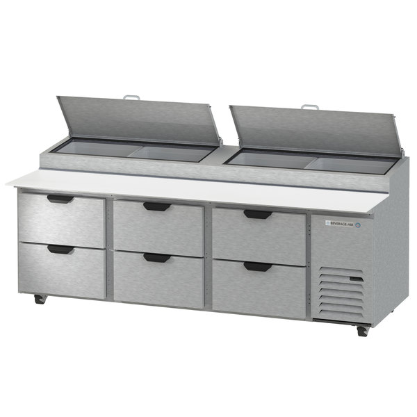 "Beverage-Air DPD93HC-6 Hydrocarbon Series 93"" 6 Drawer Pizza Prep Table Main Image 1"