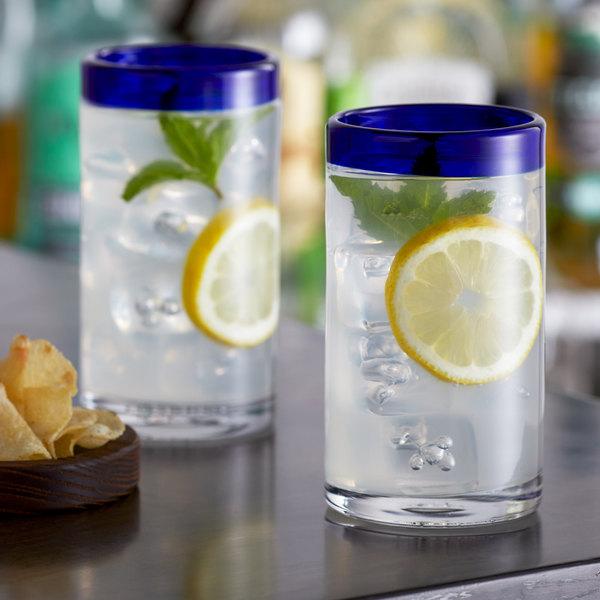 Acopa Tropic 16 oz. Cooler Glass with Blue Rim - 12/Case