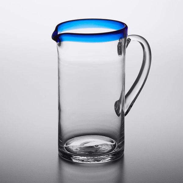 Acopa Tropic 50 oz. Glass Pitcher with Blue Rim - 6/Case
