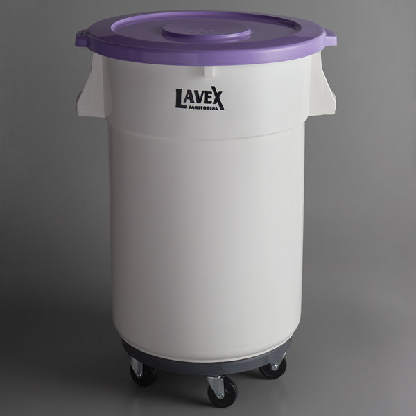 Lavex Janitorial Allergen Safe 44 Gallon White Round Ingredient Bin