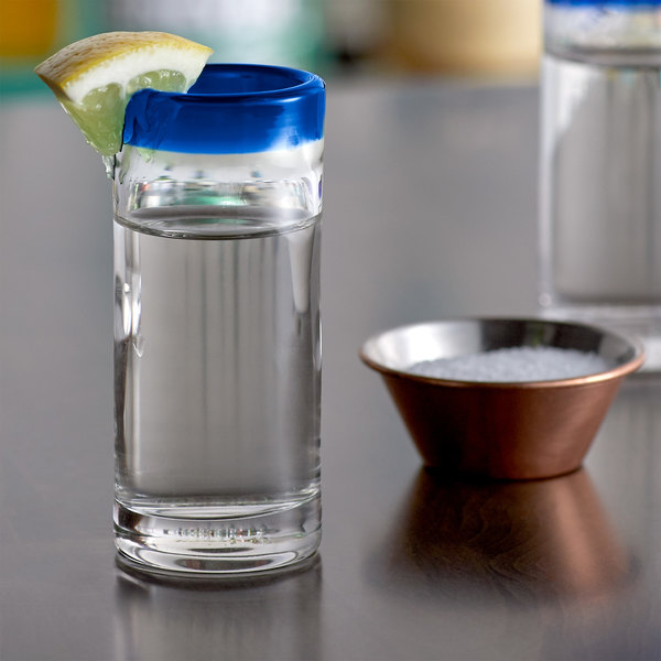 Acopa Tropic 3 oz. Shooter Glass with Blue Rim - 12/Case Main Image 2