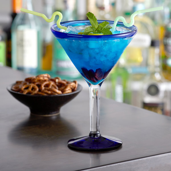 Acopa Tropic 24 oz. Martini Glass with Blue Rim and Base - 12/Case