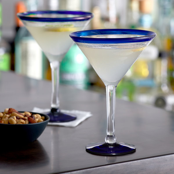 Acopa Tropic 15 oz. Martini Glass with Blue Rim and Base - 12/Case Main Image 2