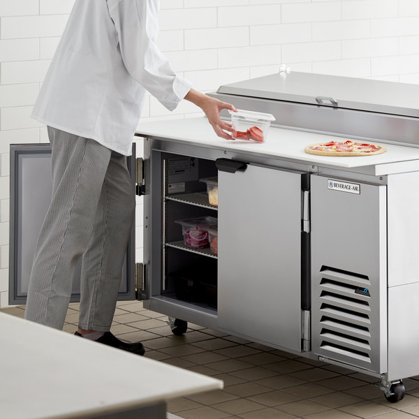 "Beverage-Air DP60HC 60"" 2 Door Refrigerated Pizza Prep Table Main Image 7"