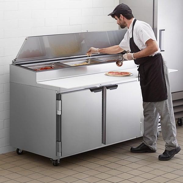 "Beverage-Air DP72HC 72"" 2 Door Refrigerated Pizza Prep Table Main Image 5"