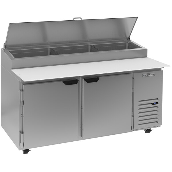 """Beverage-Air DP67HC-CL 67"""" 2 Door Clear Lid Refrigerated Pizza Prep Table Main Image 1"""