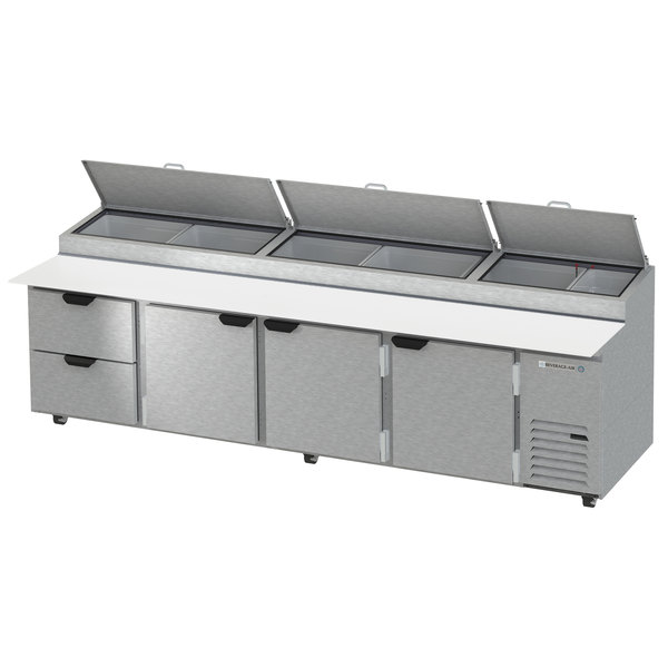 """Beverage-Air DPD119HC-2 119"""" Refrigerated Pizza Prep Table with Three Doors and Two Drawers"""