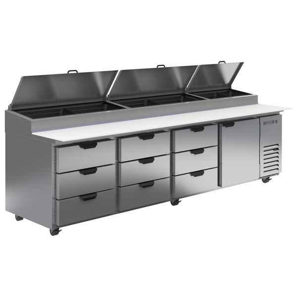 """Beverage-Air DPD119HC-9 119"""" 9 Drawer Refrigerated Pizza Prep Table Main Image 1"""