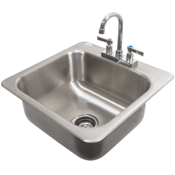 "Advance Tabco DI-1-168 Drop In Stainless Steel Sink - 16"" x 14"" x 8"" Bowl"