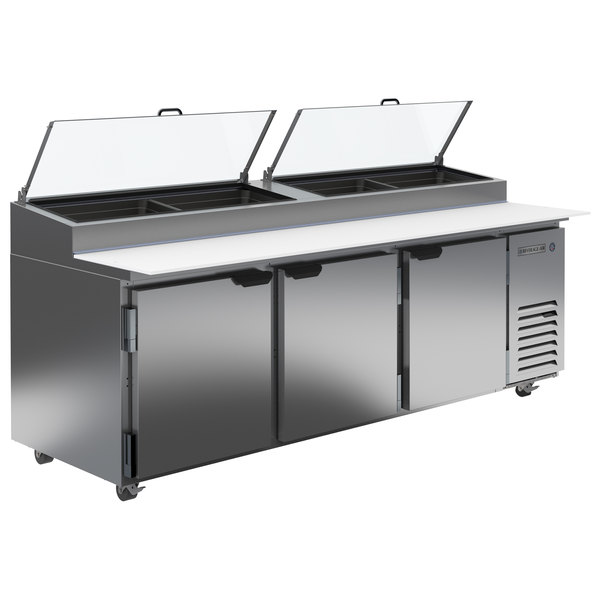 """Beverage-Air DP93HC-CL 93"""" 3 Door Clear Lid Refrigerated Pizza Prep Table Main Image 1"""