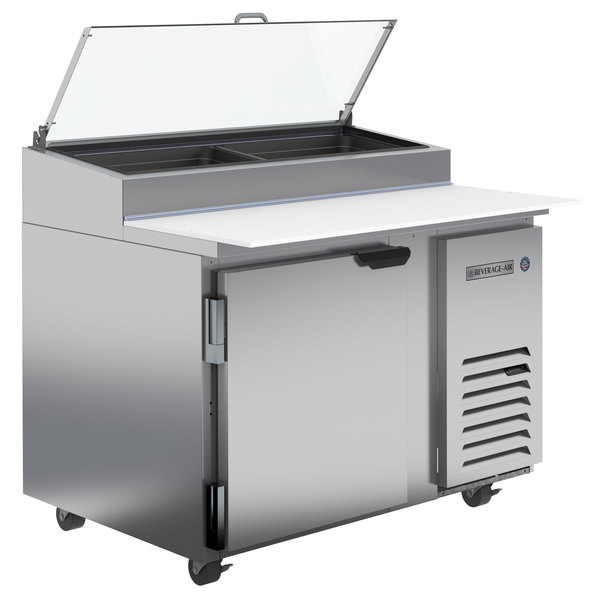 "Beverage-Air DP46HC-CL 46"" 1 Door Clear Lid Refrigerated Pizza Prep Table"