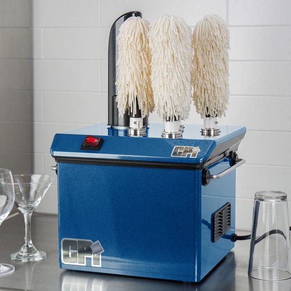 Campus Products GP5 Blue StemshinePro Five Brush Electric Glass Polisher - 110V Main Image 4