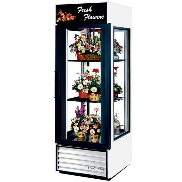 True G4SM-23FC-LD White Four Sided Glass Door Floral Case with Front Sign