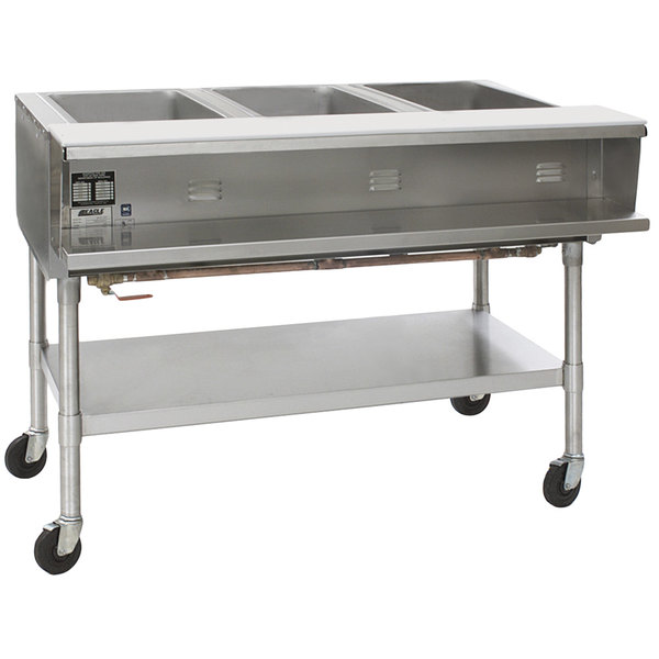 Eagle Group SPHT3-240-3 Three Pan Sealed Well Portable Hot Food Table with Undershelf - 240V, 3 Phase Main Image 1