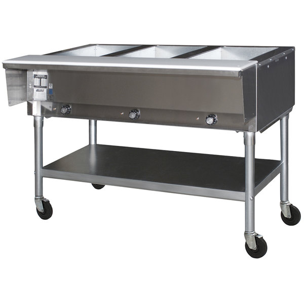 Eagle Group PDHT3-240-3 Three Pan Open Well Portable Electric Hot Food Table with Galvanized Open Base - 240V, 3 Phase Main Image 1