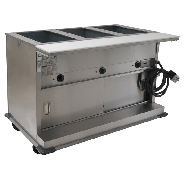 Eagle Group PHT3CB-240-3 Three Pan Open Well Portable Electric Hot Food Table with Sliding Doors - 240V, 3 Phase Main Image 1