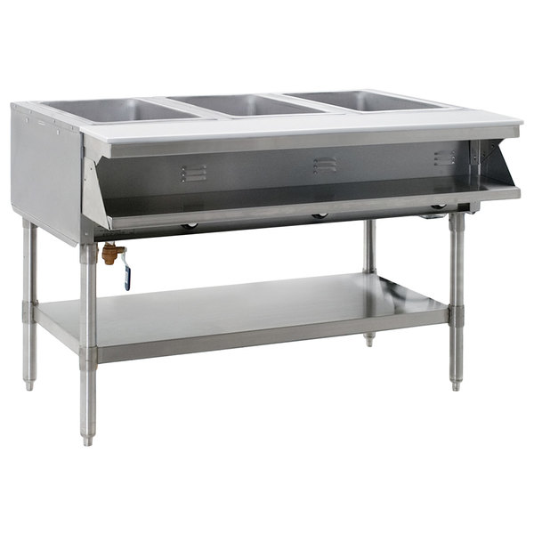 Eagle Group SHT3-240-3 Three Pan Sealed Well Stationary Hot Food Table with Undershelf - 240V, 3 Phase Main Image 1