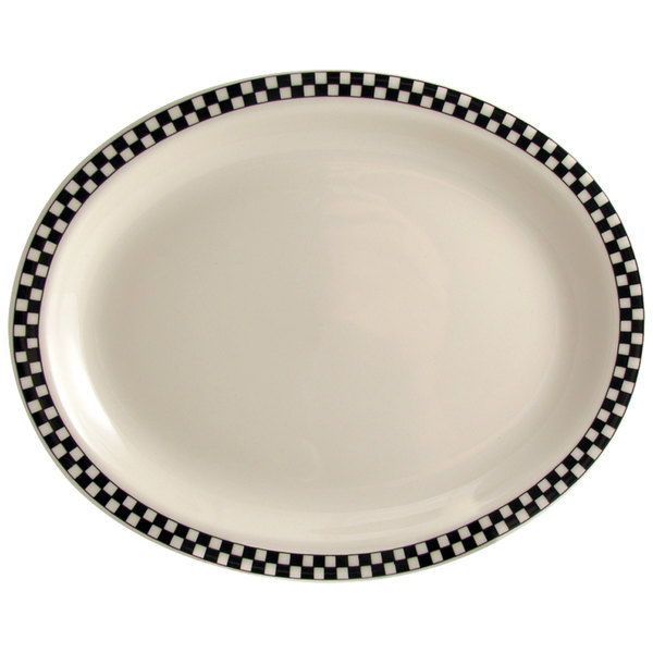 "Homer Laughlin 2621636 Black Checkers 12 1/2"" x 10 1/4"" Oval Creamy White / Off White China Platter - 12/Case"