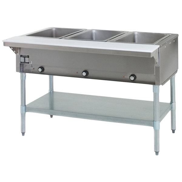Eagle Group DHT3-240-3 Three Pan Open Well Electric Hot Food Table with Galvanized Base - 240V, 3 Phase