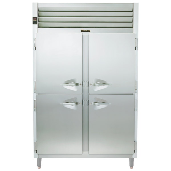 Traulsen RHT232NPUT-HHS Stainless Steel Two Section Solid Half Door Narrow Pass-Through Refrigerator - Specification Line Main Image 1