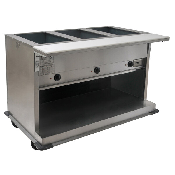 Eagle Group PHT3OB-240-3 Three Pan Open Well Portable Electric Hot Food Table with Open Front - 240V, 3 Phase Main Image 1