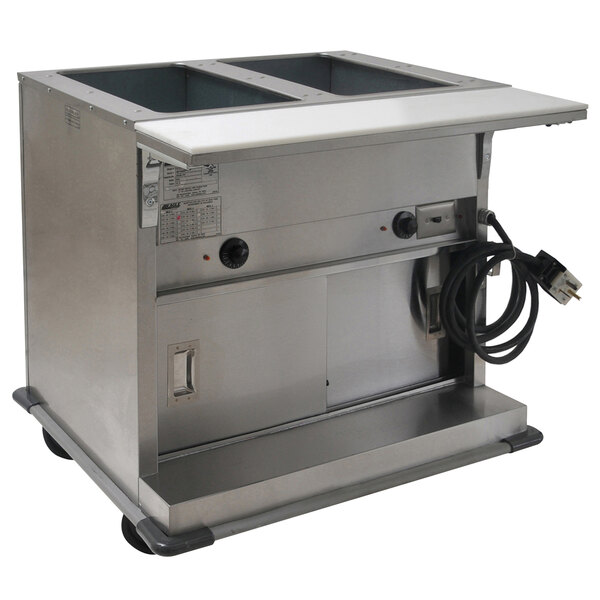 Eagle Group PHT2CB-240 Two Pan Open Well Portable Electric Hot Food Table with Sliding Doors - 240V Main Image 1