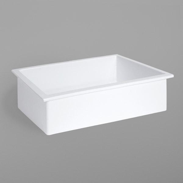 Elite Global Solutions B414-W Modern European 1/4 Size White Rectangular Melamine Gastronome Food Pan - 3/Case