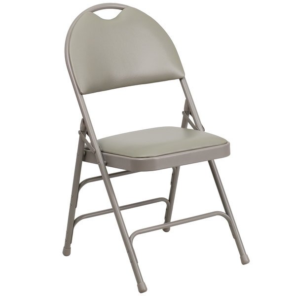 """Flash Furniture HA-MC705AV-3-GY-GG Gray Metal Folding Chair with 1"""" Padded Vinyl Seat - with Easy-Carry Handle Main Image 1"""
