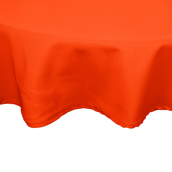 "54"" Orange Round Hemmed Polyspun Cloth Table Cover"