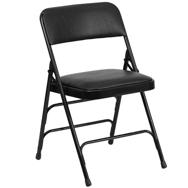 "Flash Furniture HA-MC309AV-BK-GG Black Metal Folding Chair with 1"" Padded Vinyl Seat"